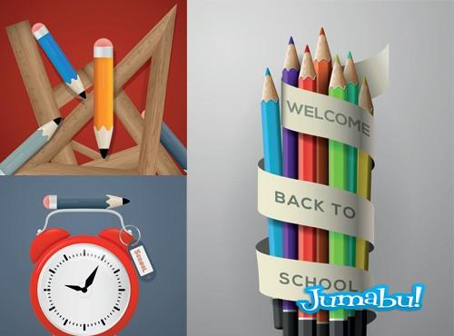 Lápices, Reglas, Reloj Despertador n Vectores