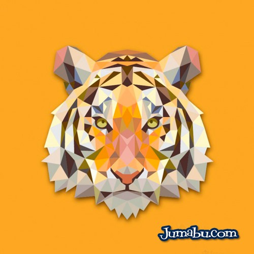 Cabeza de Tigre Vectorizado con Textura Poligonal