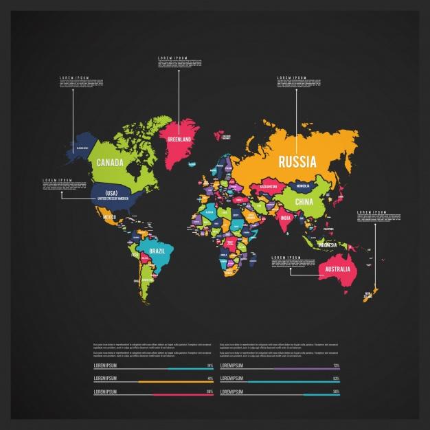 Mapa del mundo en vectores gratis con muchos colores