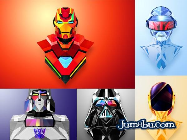 SuperHéroes en Vectores con Texturas Poligonales