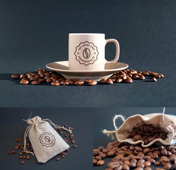 Mockup de taza de café y bolsa de granos de café