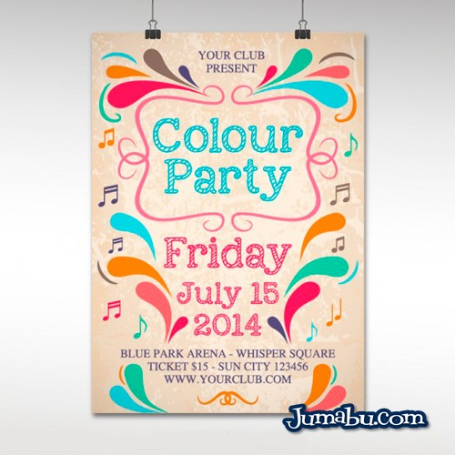 Mock Up de Poster o Afiche Colorido Fiesta en Vectores