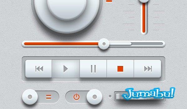 Elementos Multimedia con Detalles en Blanco en PSD