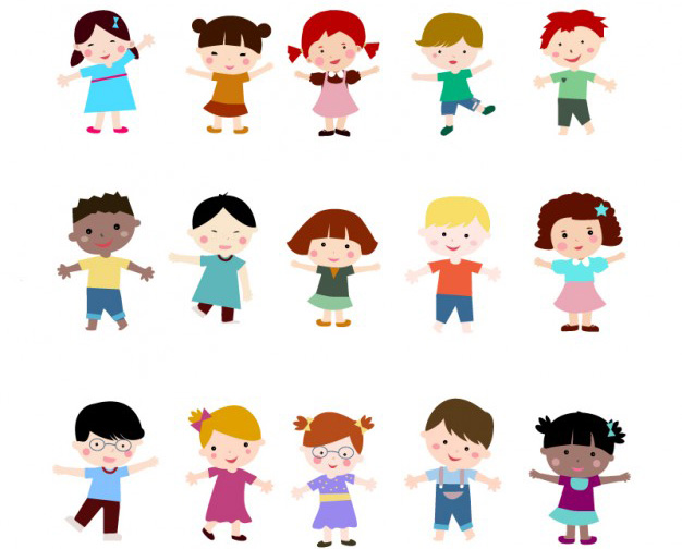 Niños en Vectores con Estilo Plano