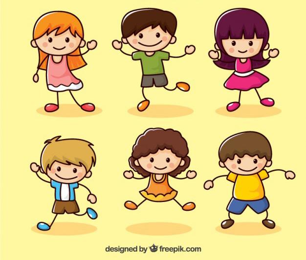 Dibujos de Niños Felices en Vectores