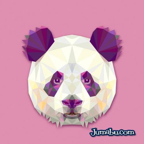 Cabeza de Oso Panda en Vectores Poligonales