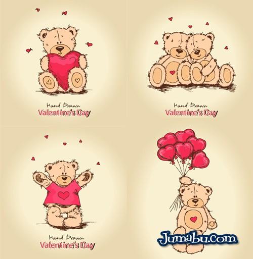 Osos en Vectores para el Día de San Valentín