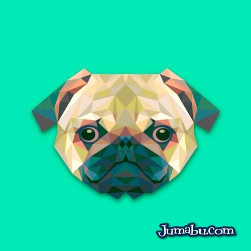 Cabeza de Perro Vectorizada con Textura Poligonal