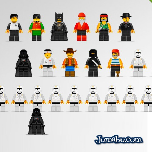 Personajes de Película dibujados como Lego