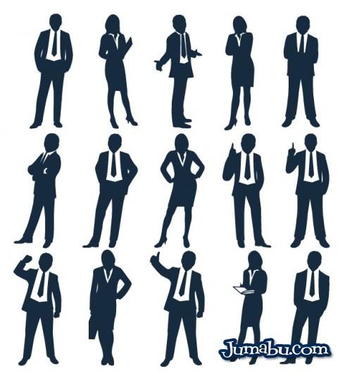 Siluetas de Personas Vestidas de Traje en vectores