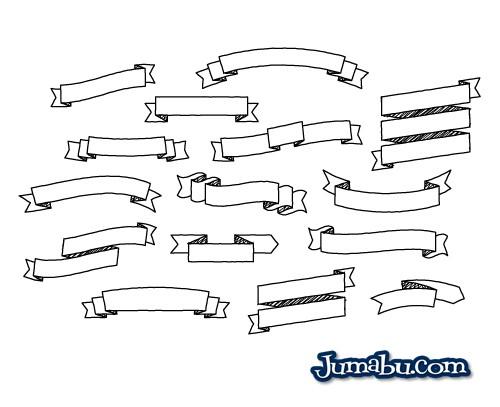 Ribbons Dibujados a Mano en Vectores