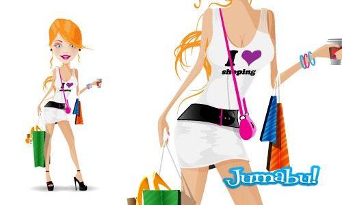 Mujer de Shopping Vectorizada