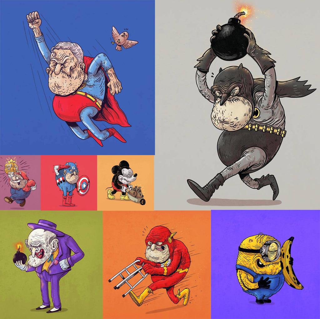 Caricaturas de superhéroes ancianos