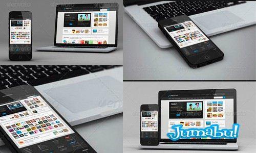 Teléfono y Notebook Mock Up – Plantillas para Presentar tus Diseños Web en PSD