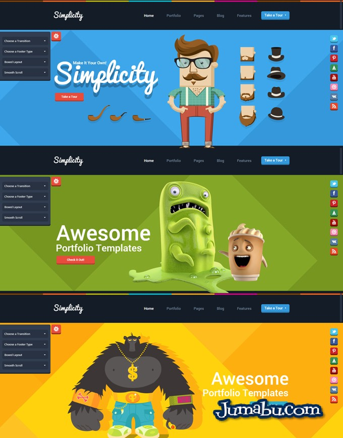 Template WordPress con Estilo Flat Design