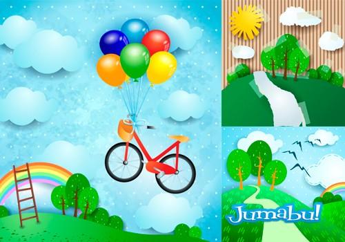 Dibujos Infantiles, Bicicletas, Nubes, Árboles en Vectores