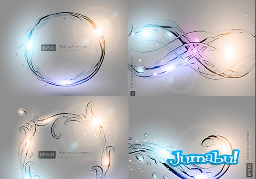 Destellos de Luces de Colores sobre Figuras Transparentes en Vectores