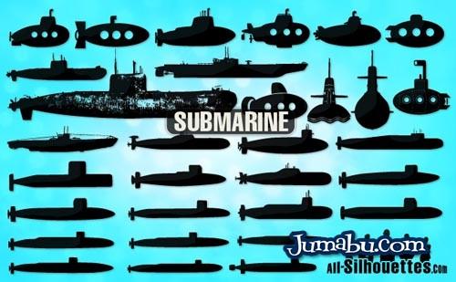 Siluetas de Submarinos Vectorizados